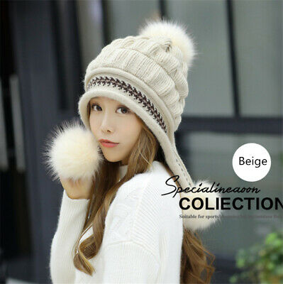 Women's Winter Cable Knitted Pom Pom Beanie Hat Earflap Caps Gloves