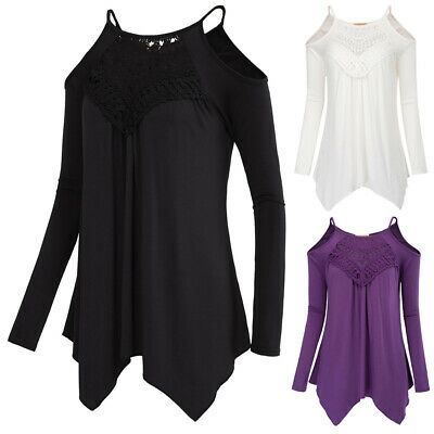 Sexy Women's Casual Loose Fit Long Sleeves Cold Shoulders High Stretchy Tops