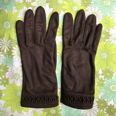 Vintage GLOVES evening 1950s 1960s ladies accessory Size 7.5 pair of Brown HK