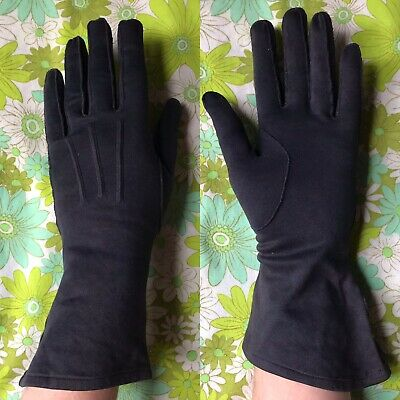 Vintage GLOVES evening 1950s ladies accessory Size 7 pair of Navy Cotton England