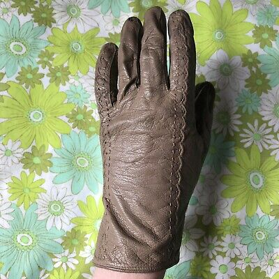 Vintage Leather GLOVES evening 1950s 1960s ladies accessory pair of