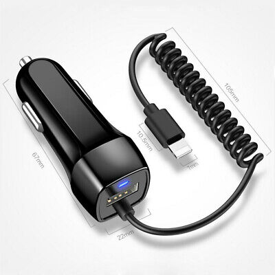 2.1A IN Car Charger For iPhone 11 Pro Max X XS XR 6 7 8 Lightning Fast Charging