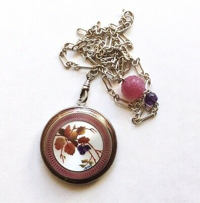 Antique French Art Deco Silver Guilloche Compact Locket & Chain, Japonism Signed