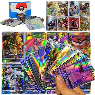 UK 100/200 Pcs TGA GX EX MEGA Energy Holo Trading Flash Pokemon Cards Bundle LE