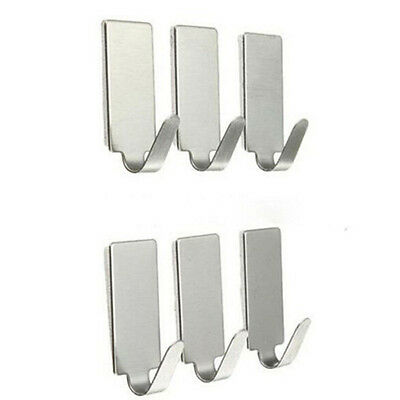 6X Adhesive Kitchen Wall Door Stainless Steel Square Stick Holder Hook Hanger#&