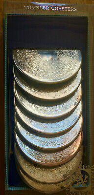 Vintage Boxed Set of 8x Etched Strachan Silver-Plate Table Drink Coasters