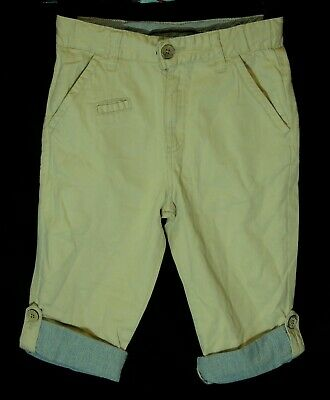 Boys Zara Beige Chino Cotton Adjustable 3/4 Length Crop Trousers Age 7-8 Years
