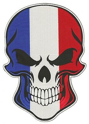 Patche dorsal skull France écusson brodé dos grande taille biker patch grand