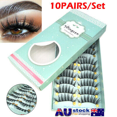 10 PAIRS Luxurious 3D False Eyelashes Mink Makeup Long Cross Soft Lashes Set AU