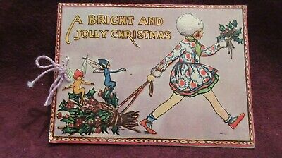 Circa 1960's Used Christmas Card A Bright And Jolly Christmas Embossed Wording.