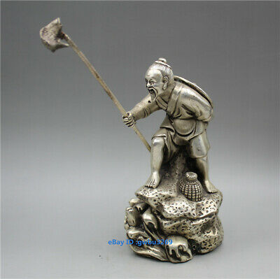 Chinese Collection hand-carved statues of Tibetan silver elderly Fishing