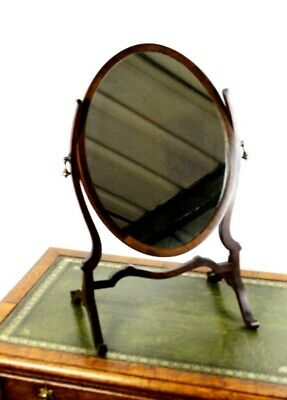 Antique Victorian Mahogany Oval Dressing Table Mirror - FREE Shipping [5553]