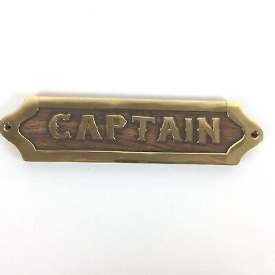 "Brass and Wood Captain Wall Plaque Name Plate Hanging Ship Sign Nautical 8"" New"