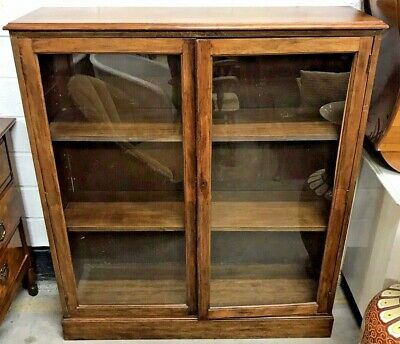 ANTIQUE MAHOGANY 4ft BOOKCASE DISPLAY CABINET SHELVING UNIT - LOCK NEEDS FIXING