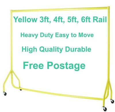 Garment Rails YELLOW HEAVY DUTY 3ft,4ft,5ft,6ft Hanging Clothes Shop Displays❤