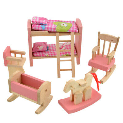 Wooden Doll Bathroom Furniture Dollhouse Miniature for Kids Toy (Beds) #Z
