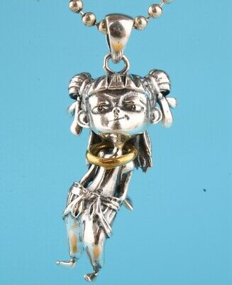 Unique China 925 Silver Hand-Carved Nezha Statue Pendant Collection Gift Old
