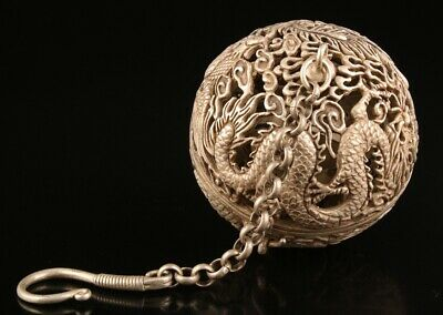 Unique China Tibetan Silver Pendant Incense Ball Hollow Dragon Phoenix Old Gift