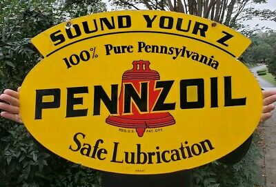 """""""PENNZOIL"""" LARGE, HEAVY, DOUBLE SIDED PORCELAIN SIGN, (DATED 1947) 31""""x 21"""""""