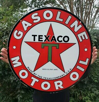 """Vintage Large Texaco 26"""" Double Sided Porcelain Sign Dated 3-31"""