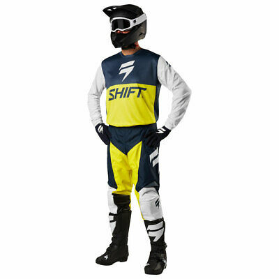 Shift Racing White Label Gelb Blau Husqvarna Motocross Hose Shirt Combo Downhill