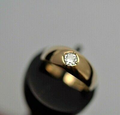 Victorian 1898 18ct Yellow Gold Gents VS1 G Diamond Solitaire Ring .35ct