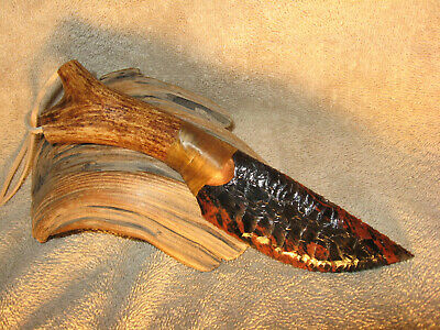 Triple Flow Obsidian Cody Neck Knife COA Flint Knapping Black Powder NR