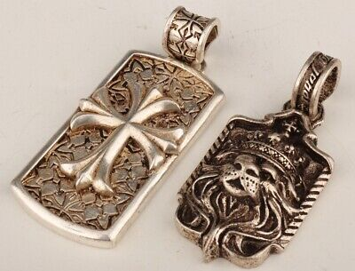 2 Rare China Tibetan Silver Hand-Carved Lion Crucifix Decorative Pendant Gift