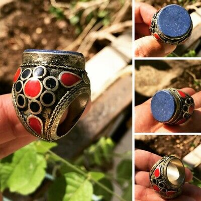 Antique Huge Ottoman Lapis Lazuli Seal intaglio coral &Turquoise Silver man Ring