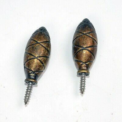 Set of 2 ACORN FULL ROUND BRASS FINIAL MANTEL CLOCK PARTS and Repair