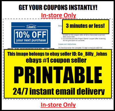 ONE 1x Lowes 10% OffCoupons - Fastest Delivery - End of Month Expiration - SAVE