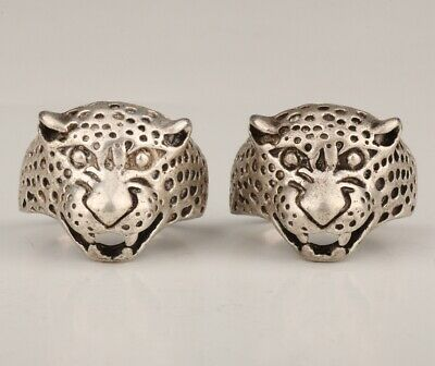 2 Chinese Tibetan Silver Hand-Carved Leopard Ring Exclusive Custom Collection