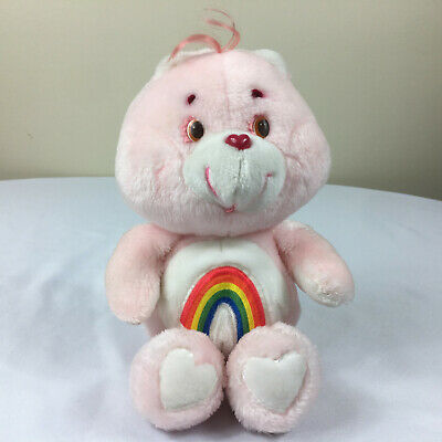 """A110 Vintage Care Bears Pink Cheer Bear Plush 12"""" Stuffed Toy Lovey"""