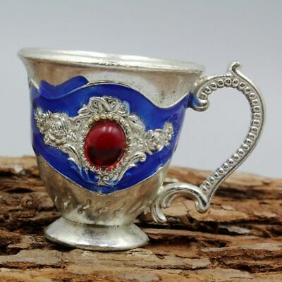 Collectable China Ancient Handwork Miao Silver Delicate Royal Noble Old Wine Cup