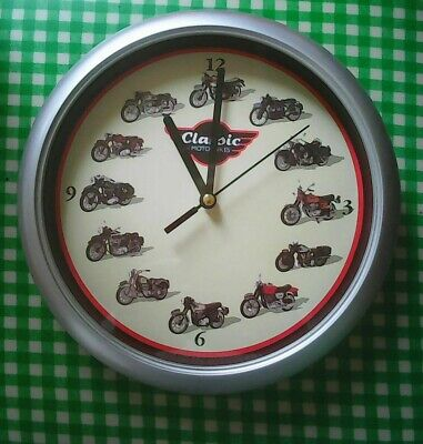 Clock wall hanging Quartz movement battery operated Classic Motor Bike theme