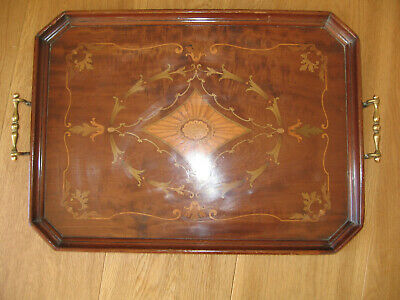 Fine Edwardian Inlaid Serving Butlers Tray