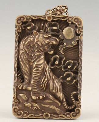 Chinese Copper Hand-Carved Tiger Pendant Fashion Trend Men Pendant
