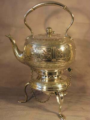Huge English Antique Victorian Vintage Mappin Webb Sheffield Silver Kettle C1890