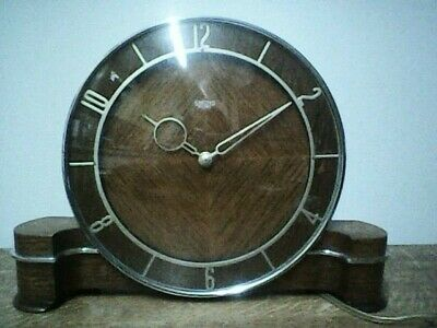 Smiths Sectric - Art Deco - Electric - Teak Mantle Clock - In Working Order