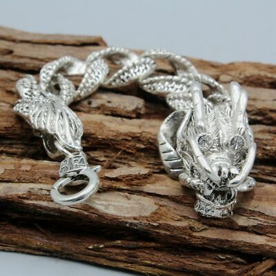 Collection China Old Miao Silver Carve Dragon Head Exorcism Unique Hand Catenary