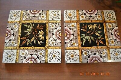 Pair of Victorian Antique Aesthetic Tiles Flowers Brown & White & Yellow SOK
