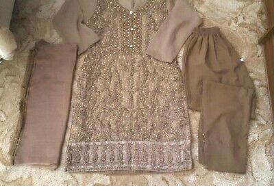 Girls New Suit Heavy Work with diamnte beads Size 36. Kameez Trousers
