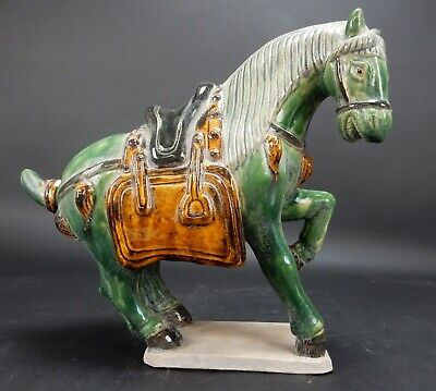 Chinese Sancai Glazed Tang Horse Statue 12 inches