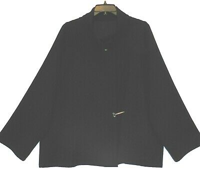 Babette SF Black Asymmetric Front Swing Jacket size Extra Large Preowned