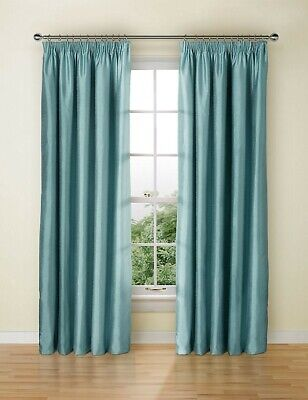 Brand new Marks & Spencer blackout lined  faux silk curtains in duck egg blue!