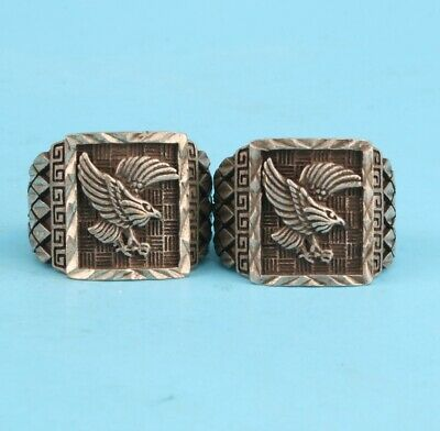 2 Rare China Tibetan Silver Hand-Carved Eagle Statue Ring Exclusive Custom