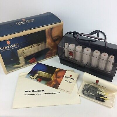 Boxed Vintage Retro Carmen 7 + 7 White Heated Rollers inc Clips Good Condition