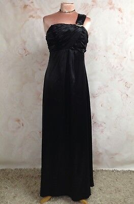 Long Black Satin Evening Dress One Shoulder Aline Fitted Bust Occasion 10 12 New