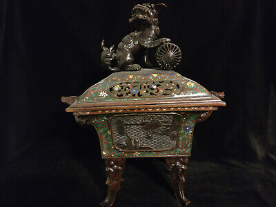 A very large and impressive Asian Oriental cloisonne censer with cover