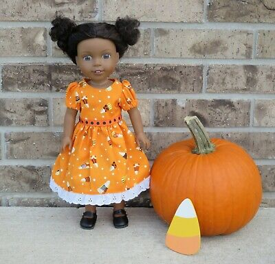 """Handmade Doll Clothes fits/for 14"""" AG Wellie Wishers ~ """"Candy Corn"""" Orange Dress"""